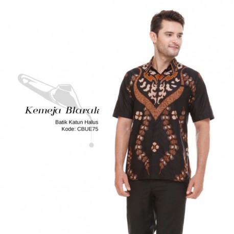 Kemeja Batik Blarak Pendek Motif Lancip Coklat