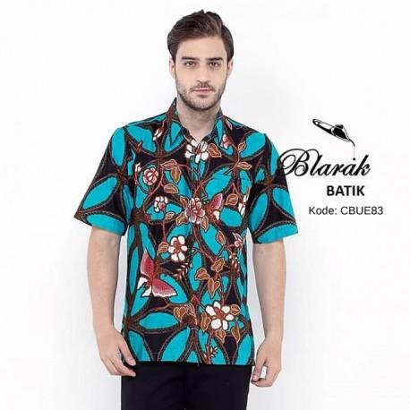 Kemeja Batik Blarak Pendek Motif Kawung Gajah Tosca
