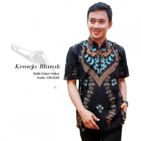 Kemeja Batik Blarak Pendek Motif Lancip Biru