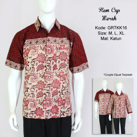 Kemeja Batik Cap Warna Merah