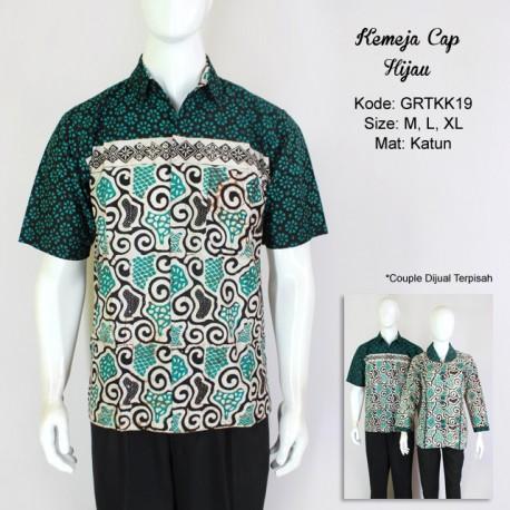 Kemeja Batik Cap Warna Hijau