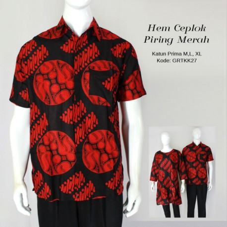 Kemeja Batik Ceplok Piring Merah