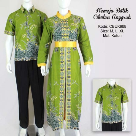 Kemeja Batik Couple Cibulan Anggrek Hijau