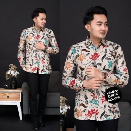 Kemeja Batik Katun Modern Motif Kembang