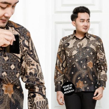Kemeja Batik Katun Modern Saku Depan