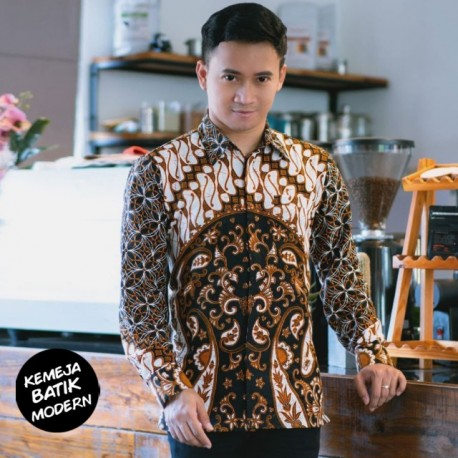 Kemeja Batik Katun Modern Motif Parang