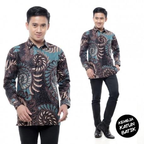 Kemeja Batik Katun Warna Hijau Keren