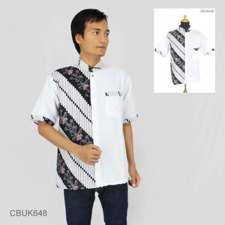 Kemeja Batik Koko Motif Kembang Parang Stik Putih