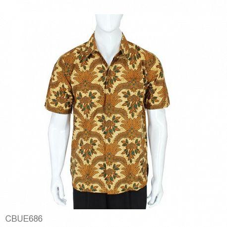 Kemeja Batik Baturaden Motif Mahkota Wulu Coklat