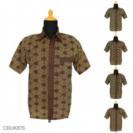Kemeja Batik Motif Ceplok Coklat