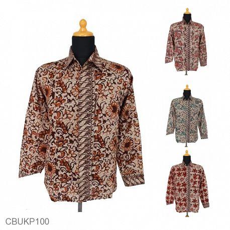 Kemeja Batik Panjang Motif Dedaunan Tumpal Parang