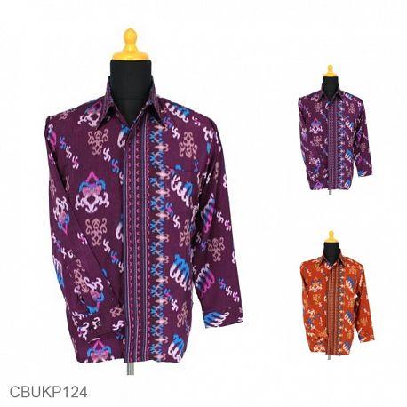 Kemeja Batik Panjang Sunwash Halus Motif Salur Tetris