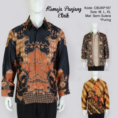 Kemeja Batik Panjang Semi Sutera Etnik