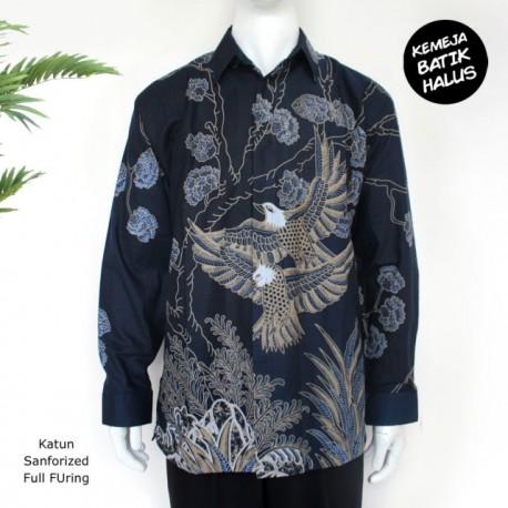 Kemeja Batik Panjang Furing Halus Rajawali Navy