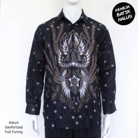 Kemeja Batik Panjang Furing Halus Sragenan Peksi Hitam