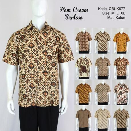 Kemeja Batik Pendek Santoso Klasik Cream