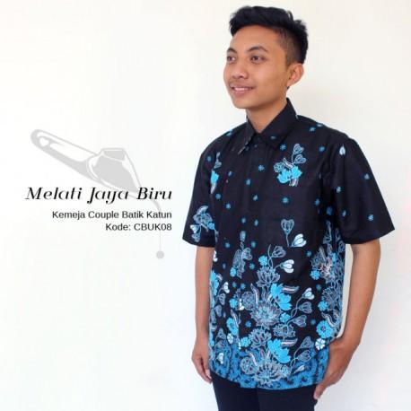 Kemeja Batik Pria Motif Batik Melati Jaya Biru