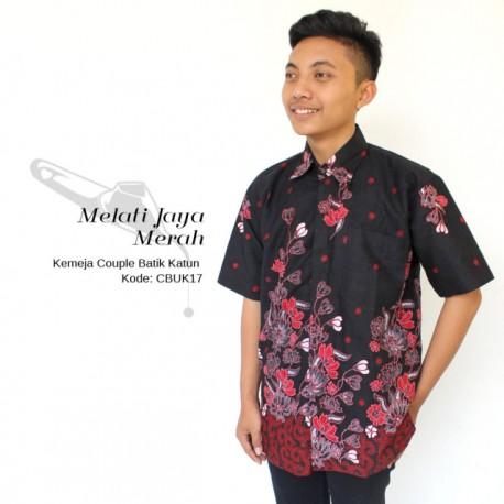 Kemeja Batik Pria Motif Batik Melati Jaya Merah