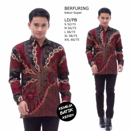 Kemeja Batik Terbaru Berfuring Saku Merah