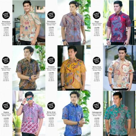 Kemeja Batik Tulis Lapis Trikot Lengan Pendek