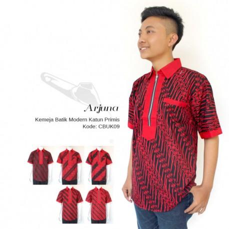 Kemeja Slimfit Modern Batik Cap Merah Hitam Katun Primis
