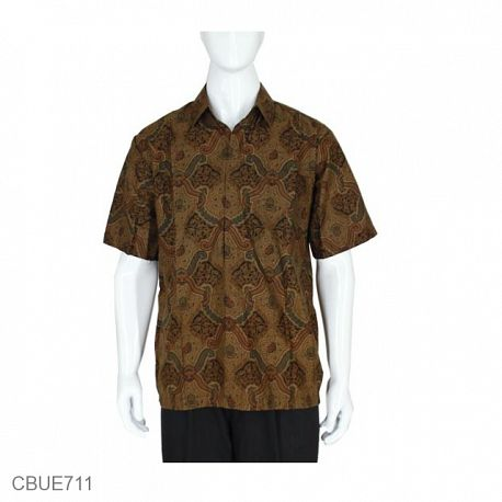 Kemeja Pendek Batik Baturaden Motif Ceplok Lasem