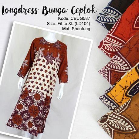 Longdress Batik Shantung Motif Bunga