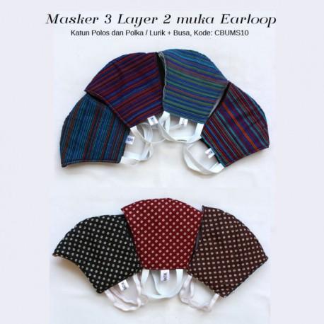 Masker 3 Layer Bolak Balik Polos dan Motif