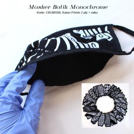 Masker Batik Cap Monochrome Tali