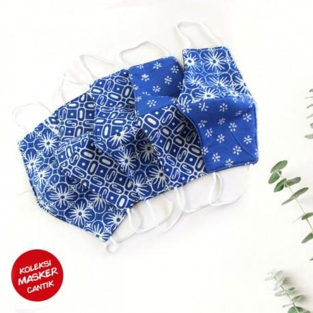 Masker Batik Seling Biru Earloop
