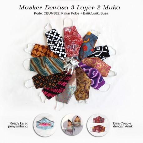 Masker Dewasa Batik 3 layer Bolak Balik