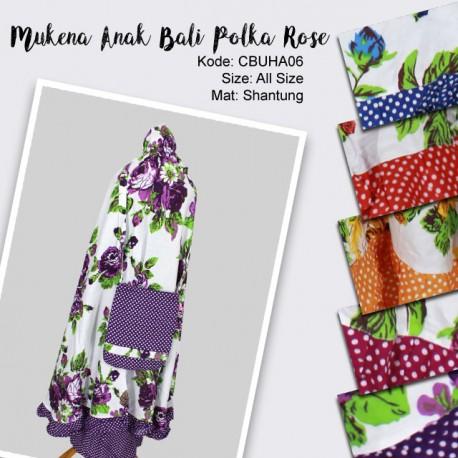 Mukena Anak Bali Motif Polka Rose