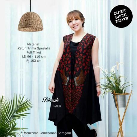 (Free Masker) Outer Batik Blarak Motif AHY 2 Merah