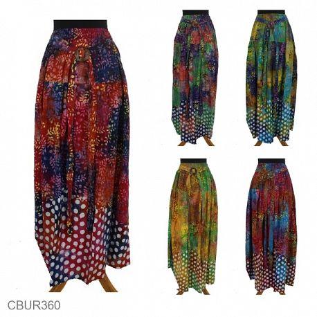Rok Batik Klok Cap Motif Daun Tumpal Pulkadot