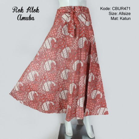 Rok Batik Klok Amuba Merah