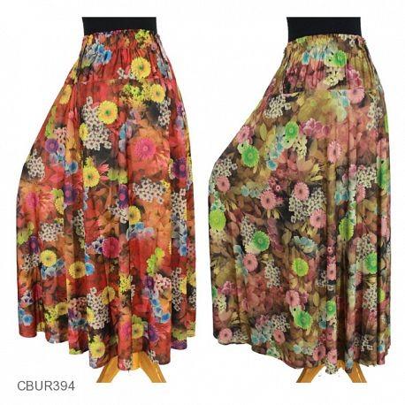 Rok Jersey Bunga Vintage Lila