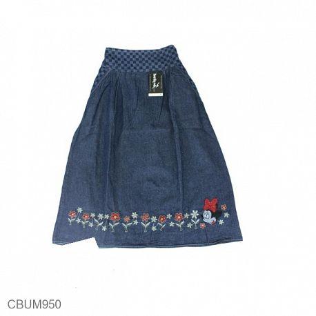 Rok Panjang Anak Jeans Motif Bunga Mouse