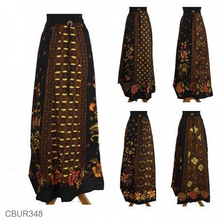 Rok Payung Panjang Katun Motif Kembang Klasik