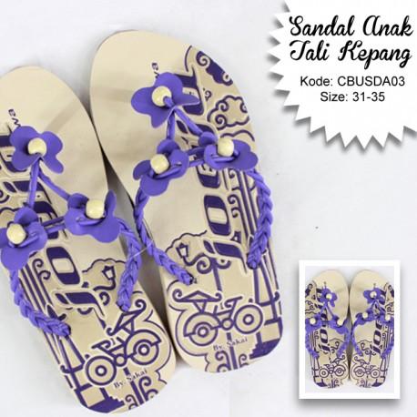 Sandal Anak Tali Kepang Bunga Tiga