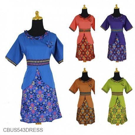 Sarimbit Dress Katun Motif Songket Katak Tumpal