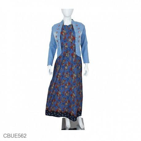 Set Gamis Batik jacket Jeans Ruffle