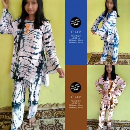 Set Piyama Anak Rayon Pecah Cantik (9-12 th)