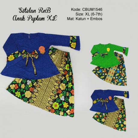 Setean RnB Anak Peplum Motif Bunga Size XL