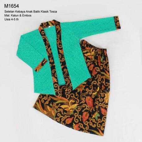 Setelan Kebaya Anak Batik Klasik Tosca (T)