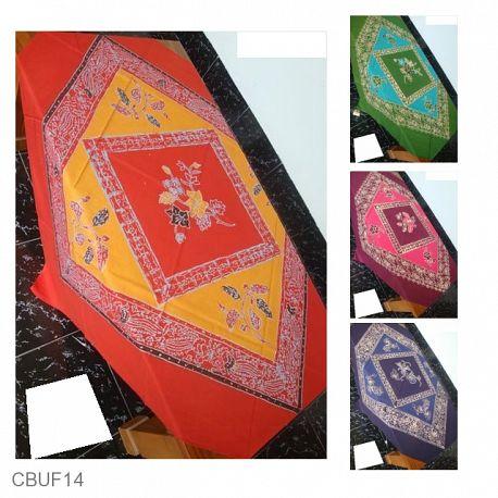 Taplak Meja Tamu Batik Motif Bunga Warna
