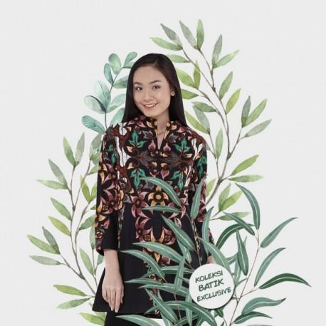 Tunik Batik Blarak Motif AHY 4 Hitam
