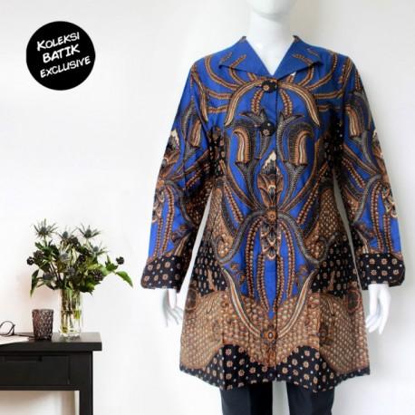 Tunik Batik Blarak Motif Padimas Biru Kerah