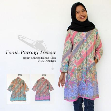 Tunik Batik Cerah Kancing Depan