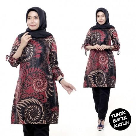 Tunik Batik Katun Merah Motif Cantik