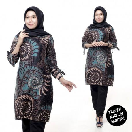 Tunik Batik Katun Hijau Motif Cantik